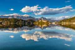 Bled Lake,Island,Church,Castle,Mountain-Slovenia. Amazing View On Bled Lake, Island,Church And Castle With Mountain Range (Stol, Vrtaca, Begunjscica) In The Royalty Free Stock Photography