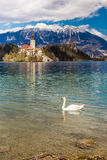 Bled Lake,Island,Church,Castle,Mountain-Slovenia. Amazing View On Bled Lake, Island,Church And Castle With Mountain Range (Stol, Vrtaca, Begunjscica) In The Royalty Free Stock Images
