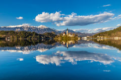 Bled Lake,Island,Church,Castle,Mountain-Slovenia. Amazing View On Bled Lake, Island,Church And Castle With Mountain Range (Stol, Vrtaca, Begunjscica) In The Stock Images