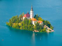 Bled lake with island and church Stock Photo