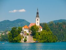 Bled lake with island and church Stock Images