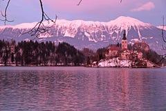 Bled Lake and island church, Slovenia. Stock Photo