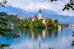 Bled with lake. Island  and mountains in background, Slovenia, Europe Royalty Free Stock Photos