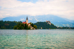 Bled lake with island, Slovenia Stock Image