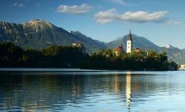 Bled Lake in Julian Alps, Slovenia. Blejsko Jezero in Bled city in Slovenia Royalty Free Stock Images