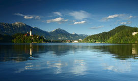 Bled Lake in Julian Alps, Slovenia. View on Blejsko Jezero with small island and St. Mary Church of the Assumption in Bled city in Slovenia Royalty Free Stock Photography