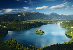 Bled Lake in Julian Alps, Slovenia. View on Blejsko Jezero with small island and St. Mary Church of the Assumption in Bled city in Slovenia Stock Photography