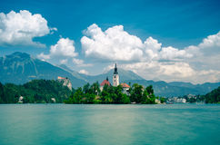 Bled lake with medieval castle Blejski grad, Slovenia. Summer scene in the park of Bled lake with medieval castle Blejski grad, Slovenia Royalty Free Stock Images
