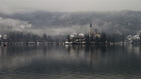 Bled lake in the morning, Slovenia stock video footage