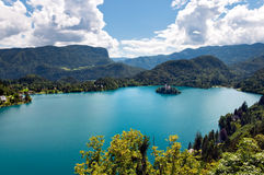 Bled Lake and mountains landcape in Slovenia Royalty Free Stock Photos