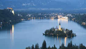 Bled lake night. Bled Lake in Julian Alps, Slovenia royalty free stock photos