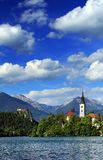 Bled Lake. Panoramic view of Bled Lake, Slovenia, Europe royalty free stock images