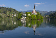 Bled lake and pilgrimage church with mountain landscape background Stock Image