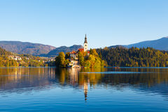 Bled Lake, Slovenia. Bled Lake in Slovenia with the Assumption of Mary Church Royalty Free Stock Image