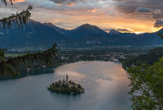 Bled Lake, Slovenia, with the Assumption of Mary Church Royalty Free Stock Photo