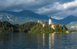 Bled Lake, Slovenia, with the Assumption of Mary Church Royalty Free Stock Image