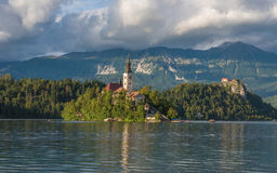Bled Lake, Slovenia, with the Assumption of Mary Church Royalty Free Stock Images