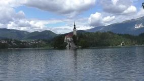 Bled lake in slovenia 134725 stock video