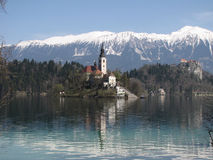 Bled lake. On the sun on the day Royalty Free Stock Images