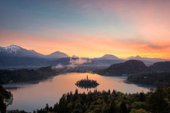 Bled lake sunrise view Royalty Free Stock Images