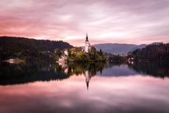 Bled. Lake in sunset - Slovenia Stock Image