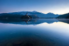 Bled lake on winter morning Stock Photos