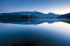 Bled lake on winter morning.  Stock Photos