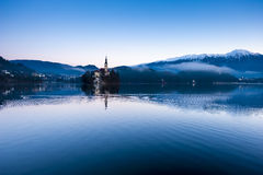 Bled lake on winter morning Royalty Free Stock Image