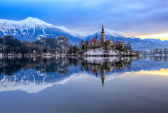 Bled with lake in winter, Slovenia, Europe Stock Photography