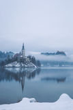 Bled with lake in winter, Slovenia, Europe Stock Photos