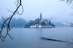 Bled with lake in winter, Slovenia, Europe Royalty Free Stock Image