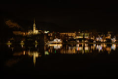Bled. Night at the lake Bled in winter, Slovenia, Europe royalty free stock photos
