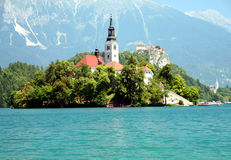 Bled in Slovenia. The mos romantic place most visited tourists attraction in Slovenia, lake Bled is beautiful in every season stock photos