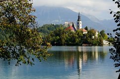 Bled in Slovenia. Lake Bled with island and mountains in background Royalty Free Stock Image