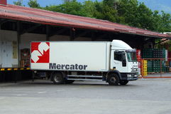 Docked Mercator delivery truck. Bled, Slovenia - August 6, 2017: Mercator delivery truck docked in the city of Bled. Nobody in de vehicle. Mercator is a Royalty Free Stock Images
