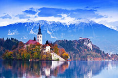 Bled, Slovenia, Europe. Bled with lake, island, castle and mountains in background,Tripod, Slovenia, Europe Royalty Free Stock Photos
