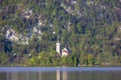 Bled, Slovenia - small church on the island Stock Photo