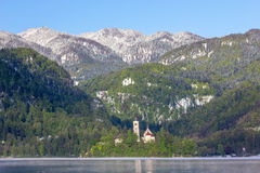 Bled, Slovenia - small church on the island Royalty Free Stock Photography