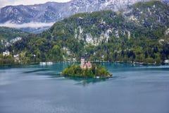 Bled, Slovenia - small church on the island Royalty Free Stock Photo