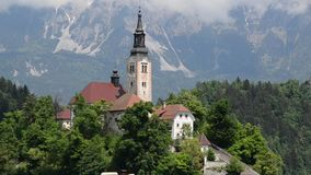 Bled in spring, popular tourist and travel destination. Beautiful Lake Bled in the Julian Alps, Slovenia, Upper Carniolan. View ov. Er Lake Bled. Island, castle stock footage