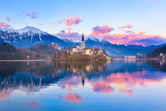 Bled in sunset, Slovenia, Europe. Royalty Free Stock Images
