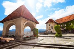 Bled top castle. Arbor and square in the upper castle in Bled, Slovenia Royalty Free Stock Photos
