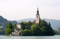 Bled town church Stock Photo