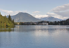 Bled town cityscape with lake and Alp mountains royalty free stock photo