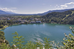 Bled town cityscape with lake and Alps Royalty Free Stock Photography