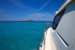 Bledes Bledas Ibiza islands view from boat side Stock Photos