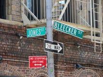 Bleecker gatatecken, Manhattan, New York Arkivbilder