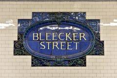 Bleecker Uliczna stacja metru - Miasto Nowy Jork Fotografia Royalty Free