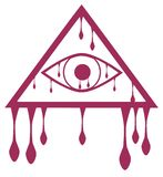 Bleeding All-Seeing Eye isolated Royalty Free Stock Images