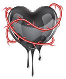 Bleeding Black Heart Royalty Free Stock Photography